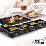 Artestia-Raclette-Party-Grill-with-Two-Half-Top-Plates-Cast-Aluminum-Reversible-Grill-Plate-and-High-Density-Granite-Grill-Stone-Serve-8-Persons-0-0