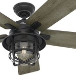 Hunter-Fan-54-Weathered-Zinc-Outdoor-Ceiling-Fan-with-a-Clear-Glass-LED-Light-Kit-and-Remote-Control-5-Blade-Certified-Refurbished-0