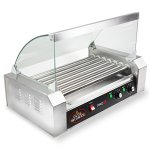Olde-Midway-Electric-18-Hot-Dog-7-Roller-Grill-Cooker-Machine-900-Watt-with-Cover-Commercial-Grade-0-0