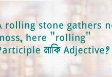 "A rolling stone gathers no moss, here ""rolling"" Participle নাকি Adjective?"