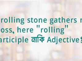"""A rolling stone gathers no moss, here """"rolling"""" Participle নাকি Adjective?"""