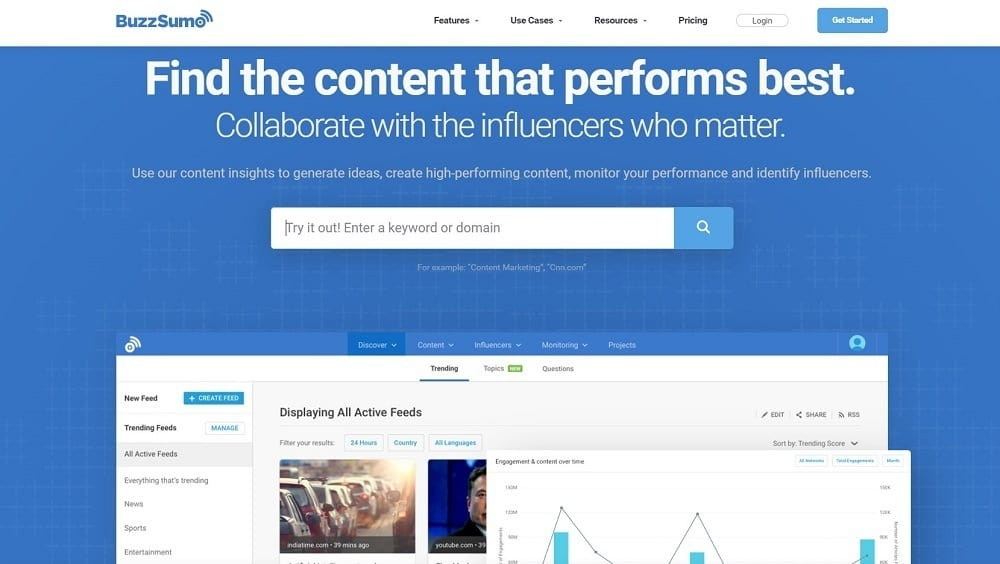buzzsumo shows what content performs the best