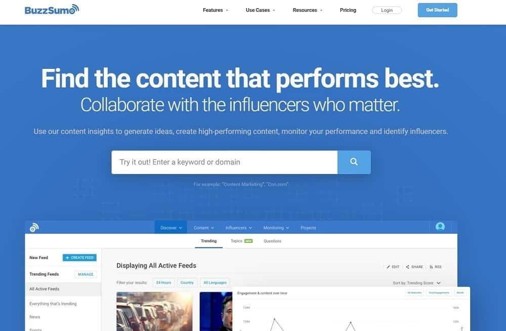 social media analytics tool - buzzsumo
