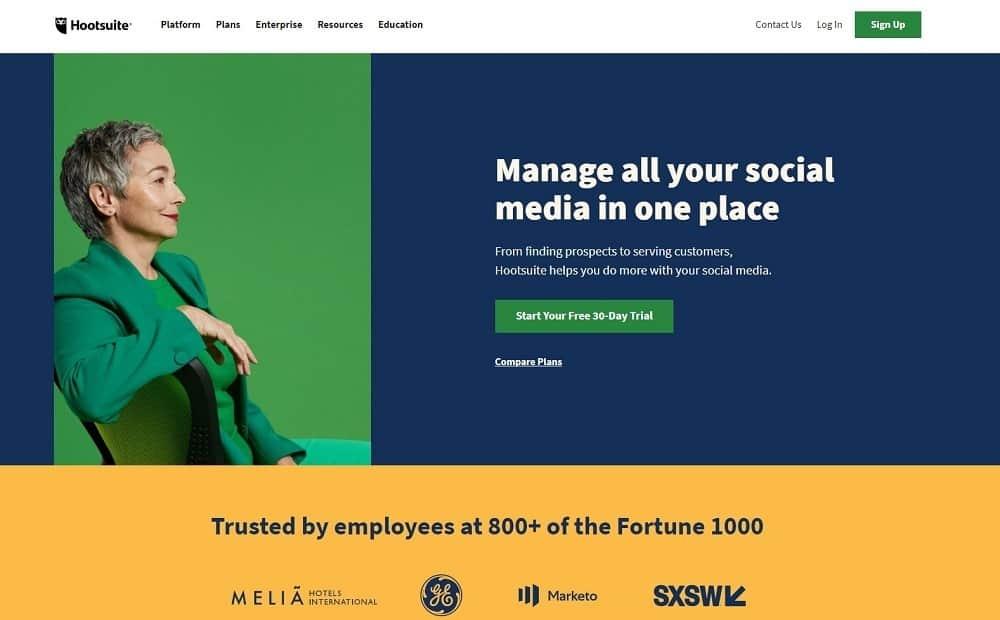 mejor herramienta de marketing en redes sociales: hootsuite