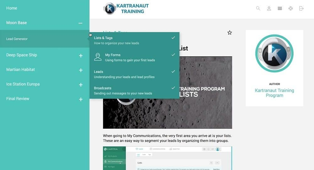 Kartranaut training