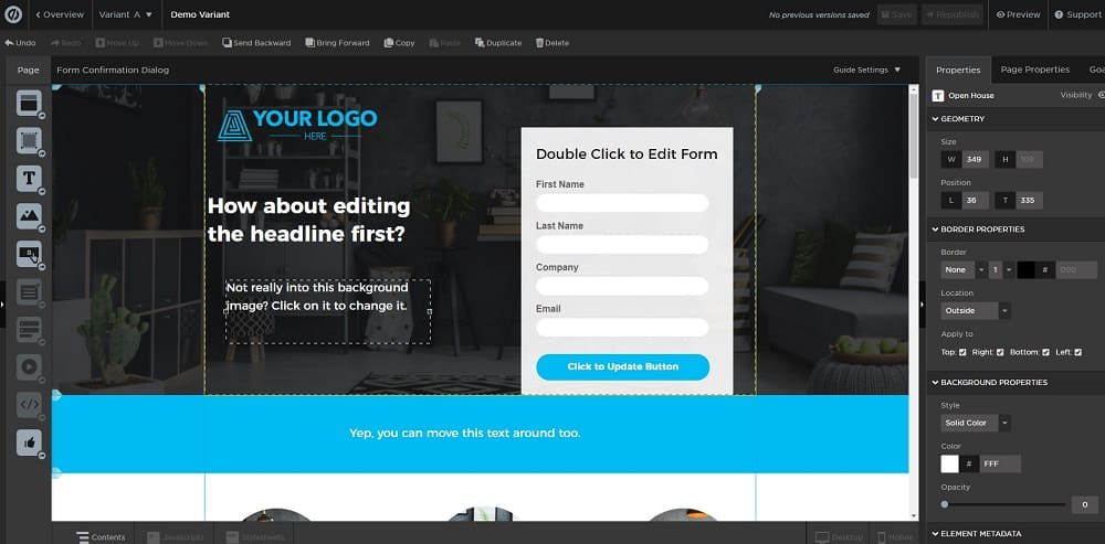 unbounce landing page preview