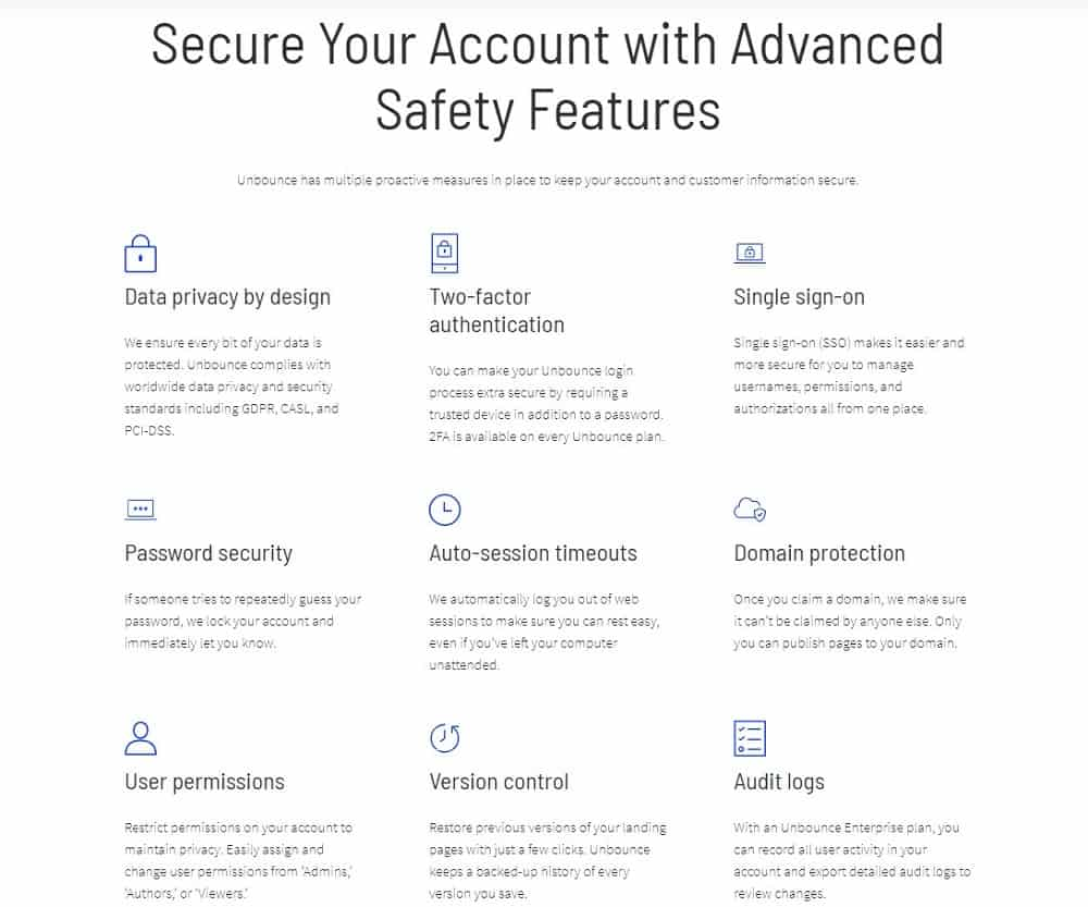 unbounce security features