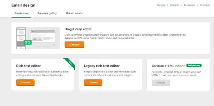 mailerlite drag and drop editor