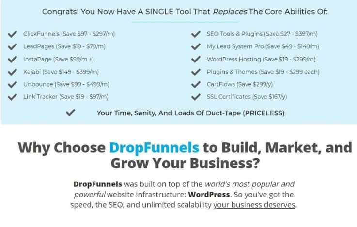 DropFunnels features