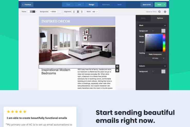 ActiveCampaign email editor