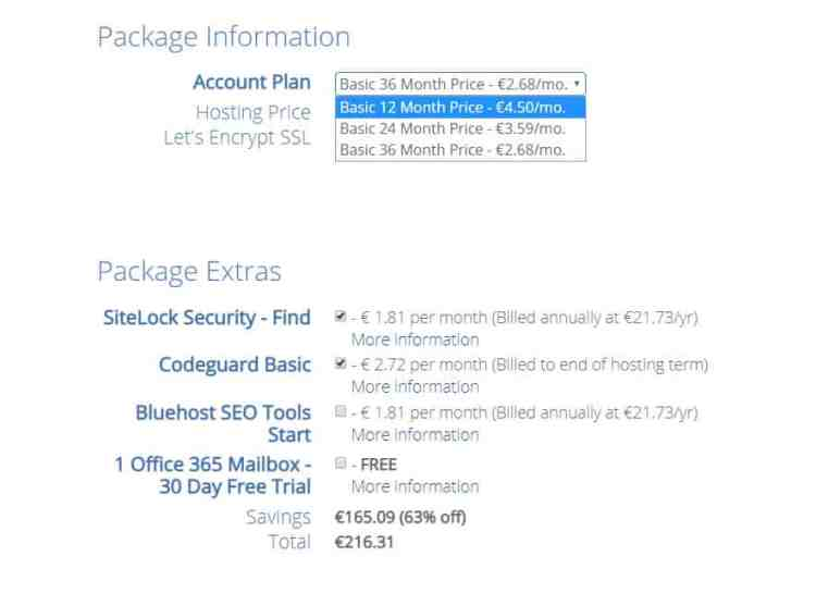 bluehost-package-information