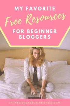"Text ""free resources for beginner bloggers"" with blonde woman sitting on a bed typing on laptop computer"