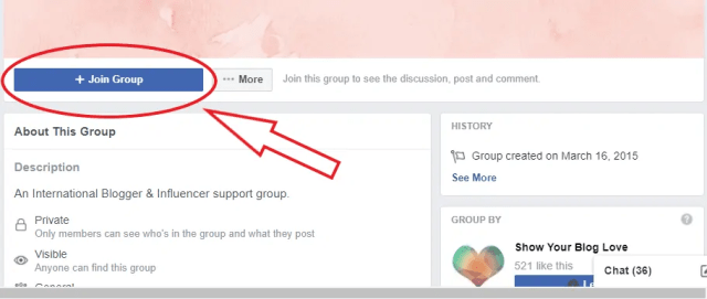Screenshot of Facebook Group Join button