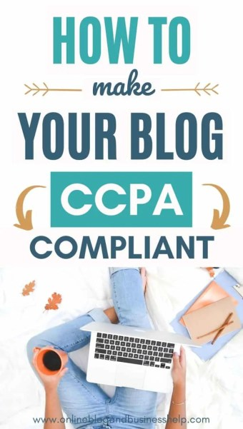 "Overhead view of hands typing on laptop with text above ""How to make your blog CCPA Compliant"""