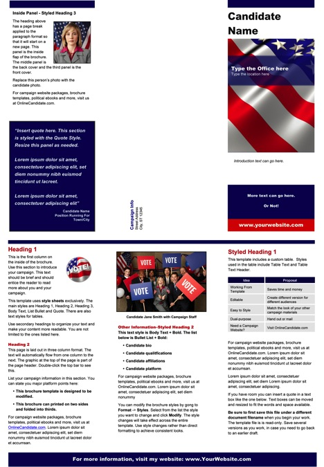 Political Print Templates Red White And Blue Theme Word Online Candidate