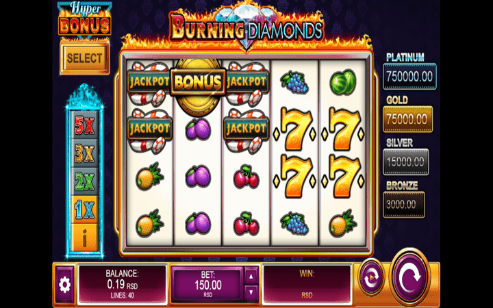 Burning Diamonds, džekpot, online casino bonus