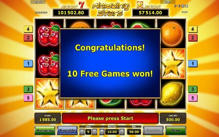 Besplatni spinovi, Amazing Stars, Online Casino Bonus