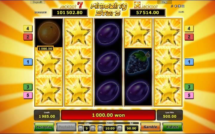 Online Casino Bonus, Amazing Stars