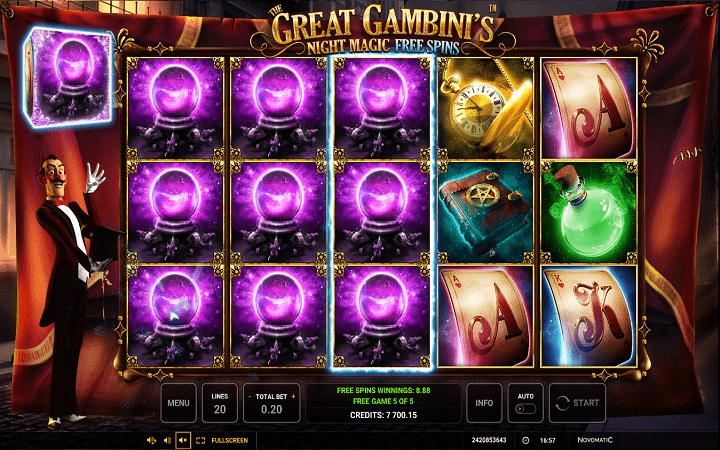 The Great Gambini's Night Magic, Novomatic, Online Casino Bonus
