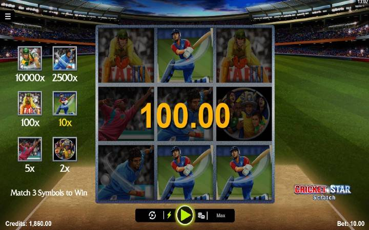 Online Casino Bonus, Cricket Star Scratch
