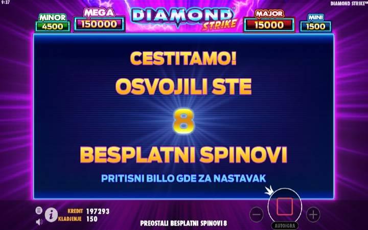 Besplatni spinovi, online casino bonus, DIamond Strike