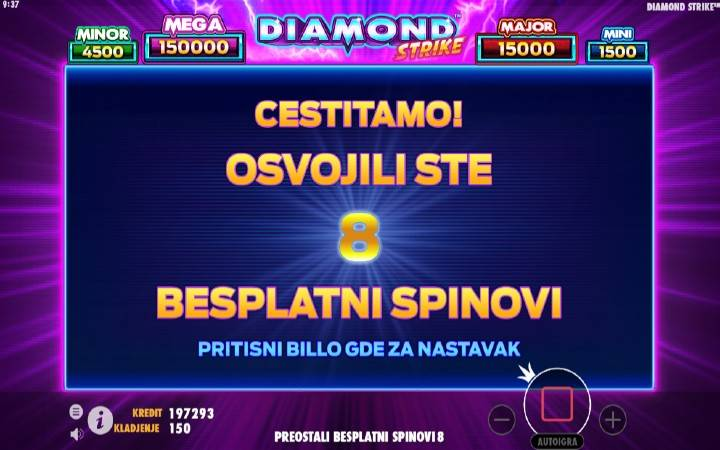Besplatni spinovi, online casino bonus, DIamond Strike