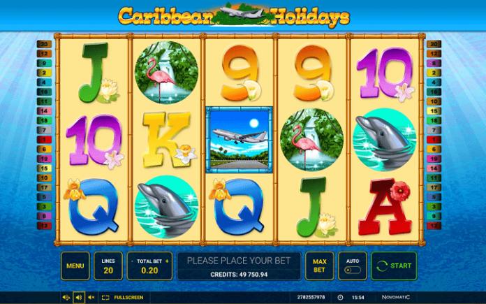 slot Caribbean Holidays-tabla slota-simboli na tabli za igru