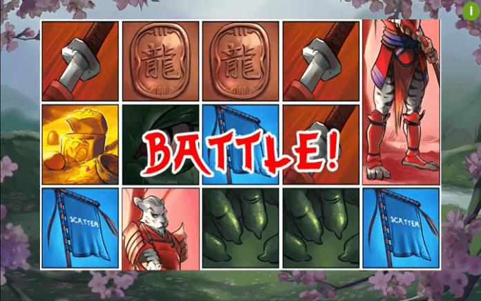 Samurai Ken slot-tri scatter simbola-pokrenuta bonus igra Freespin Battle