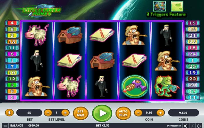 Izgled slota Little Green Money-tabla slota-pet kolona i tri reda