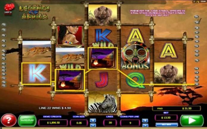 Legends of Africa, džokeri, online casino bonus
