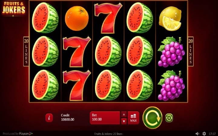 Fruits and Jokers: 20 lines, Playson, Online Casino Bonus