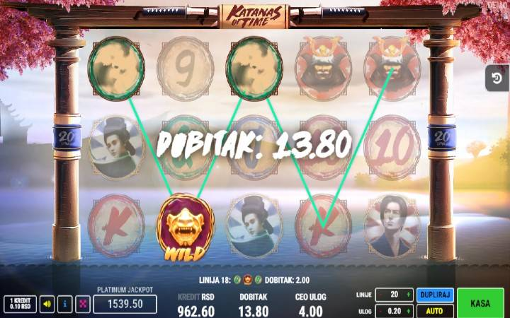 Džoker, Katanas of TIme, Online Casino Bonus