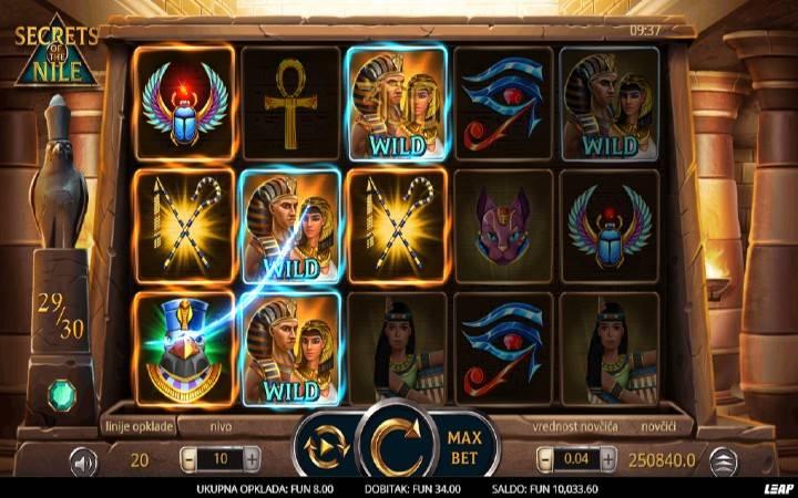 Džoker, Online Casino Bonus, Secrets of The Nile, Leap Casino