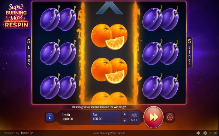 Respin, online casino bonus, Super Burning Wins: Respin