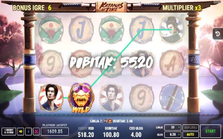 Besplatni Spinovi, Multiplikatori, Online Casino Bonus, Katanas of Time