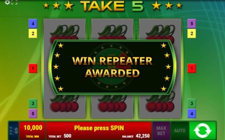 Točak Sreće, Win Repeater, Take 5, Online Casino Bonus