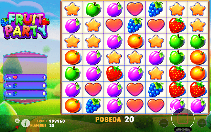 Fruit Party, Pragmatic Play, Online Casino Bonus, veliki dobitak, milioner iz jednog spina