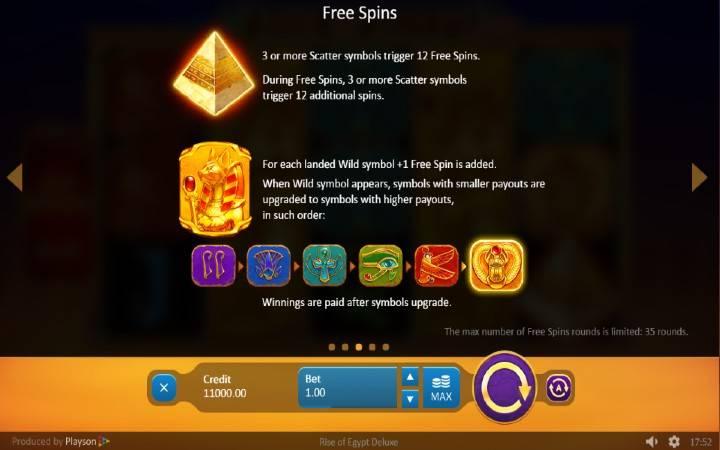 Rise of Egypt Deluxe, Online Casino Bonus, Playson