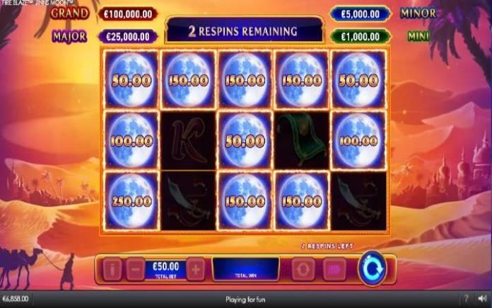 Respin, Online Casino Bonus, FFire Blaze Jinns Moon