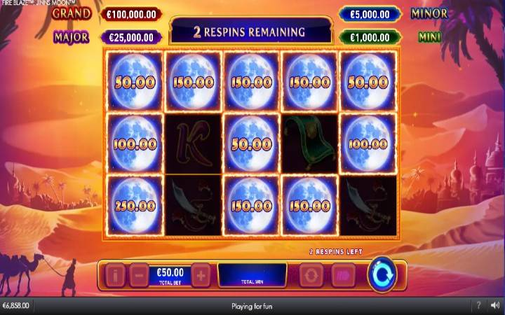 Respin, Online Casino Bonus, Fireblaze Jinns Moon