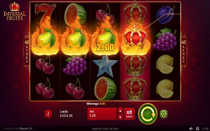 Džoker, Online Casino Bonus, Playson, Imperial Fruits: 40 lines
