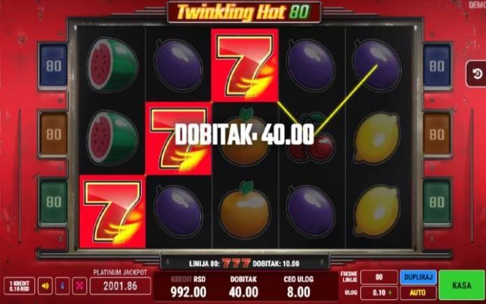 Lucky 7-dobitna kombinacija-online casino bonus-Twinkling Hot 80