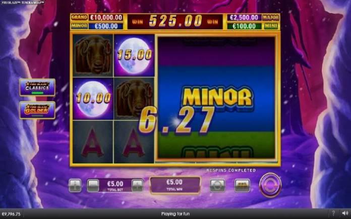 Fire Blaze Classic Respin Bonus, Fire Blaze Golden Tundra Wolf-online casino bonus