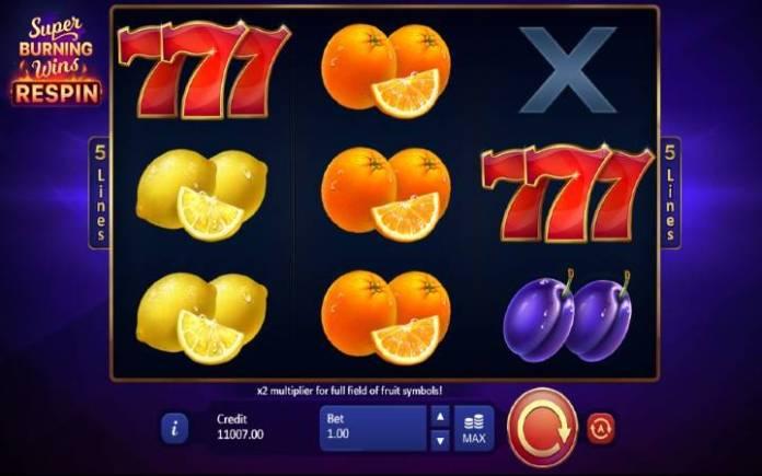 Super Burning wins respin-playson-online casino bonus