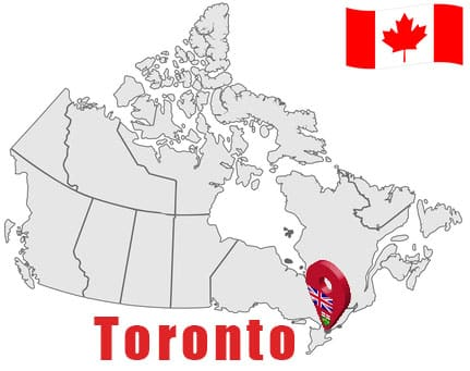 Toronto on Map and Canada Flag