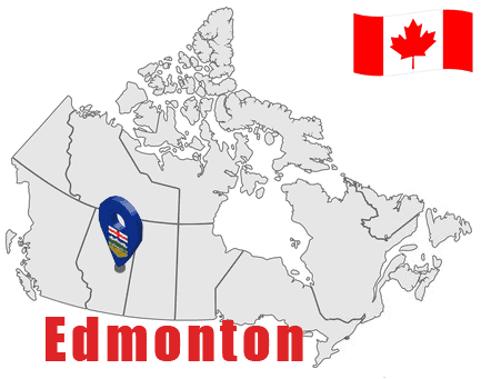 Edmonton on Map and Canada Flag