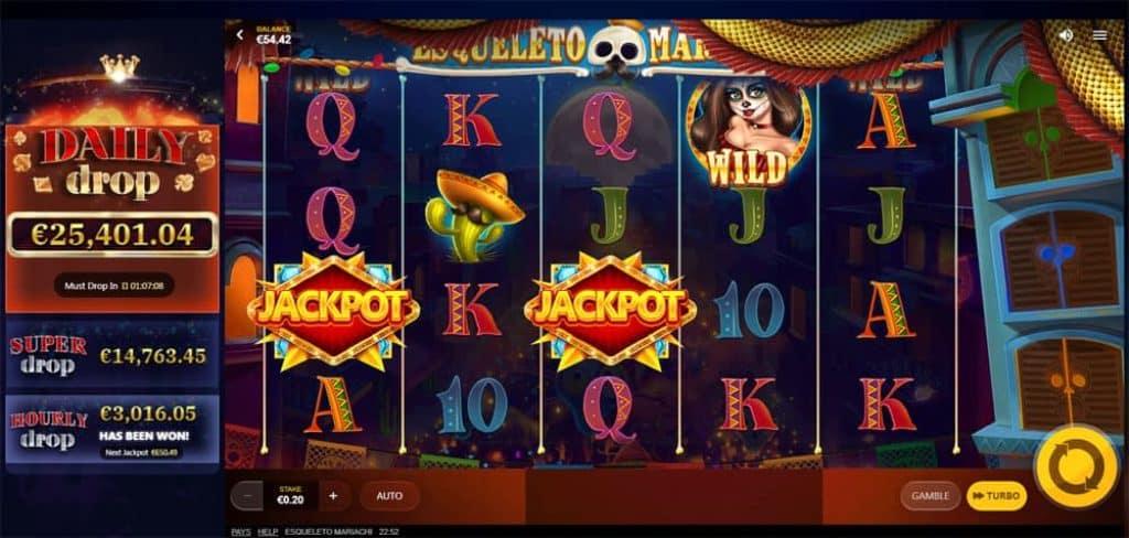 Esqueleto Mariachi Daily Slot Machine Jackpot Drop View