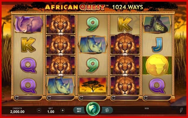 African Quest Online Slot Game View