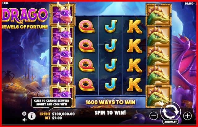 Drago Jewels of Fortune Slot Machine View