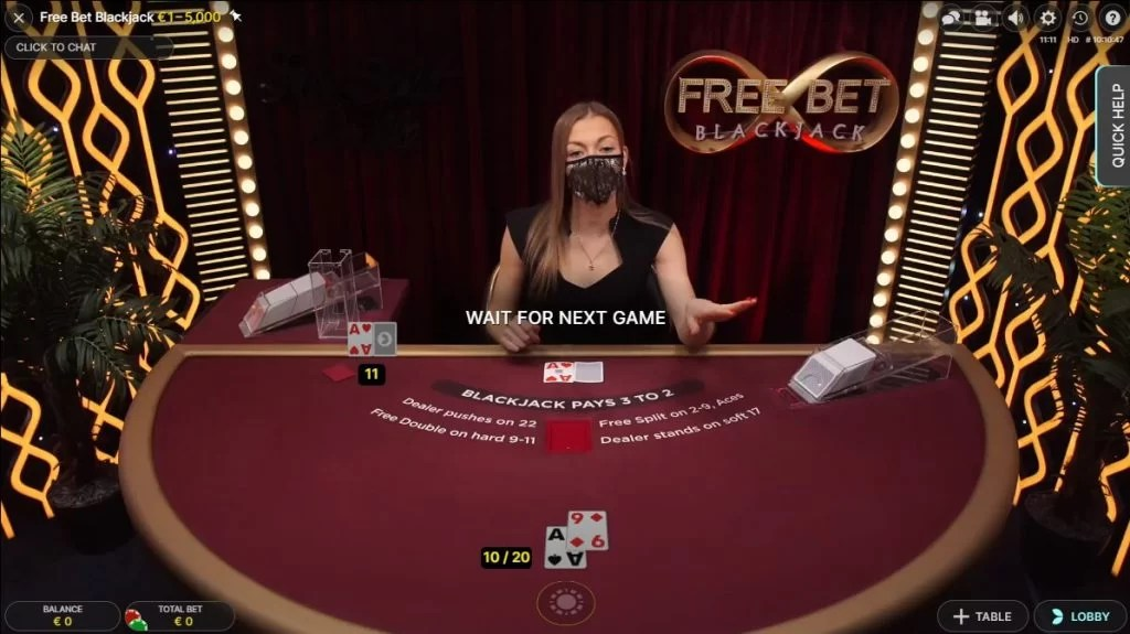 Free Bet Blackjack in het Live Casino